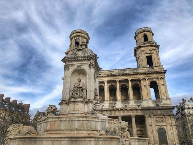 Saint Sulpice square Paris Paris Square Saint Sulpice Sky Architecture Built Structure Cloud - Sky Low Angle View Building Exterior History No People Travel Destinations