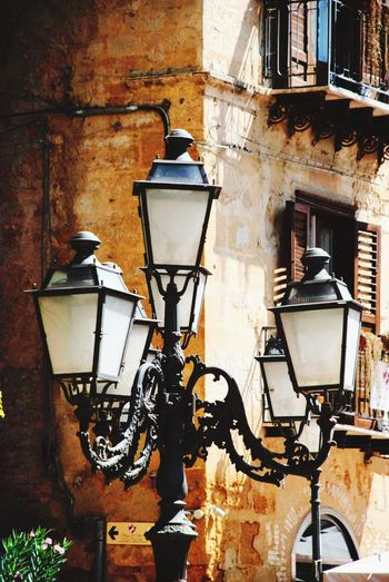 Sicily Sicilia Italy Italian Town Lighting Equipment Built Structure Electric Lamp Wall - Building Feature Street Light Architecture Building Exterior No People Street Old Wall Outdoors Light Window
