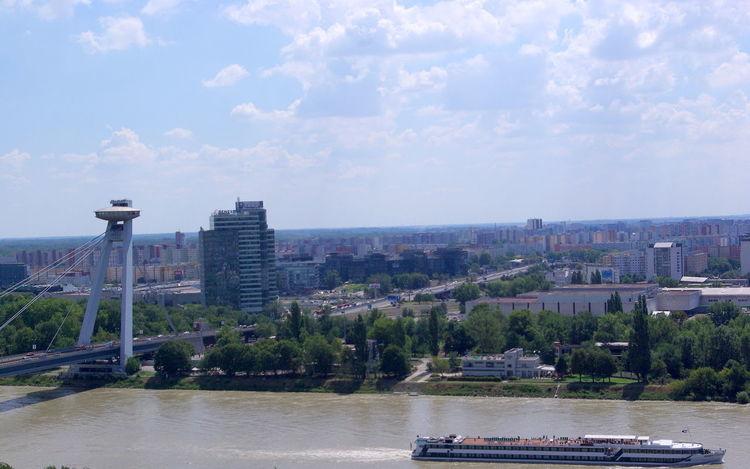 City Duna Pozsony Sky And Clouds Slovakia Blue Boat Bratislava Bridge City Scape Clouds River