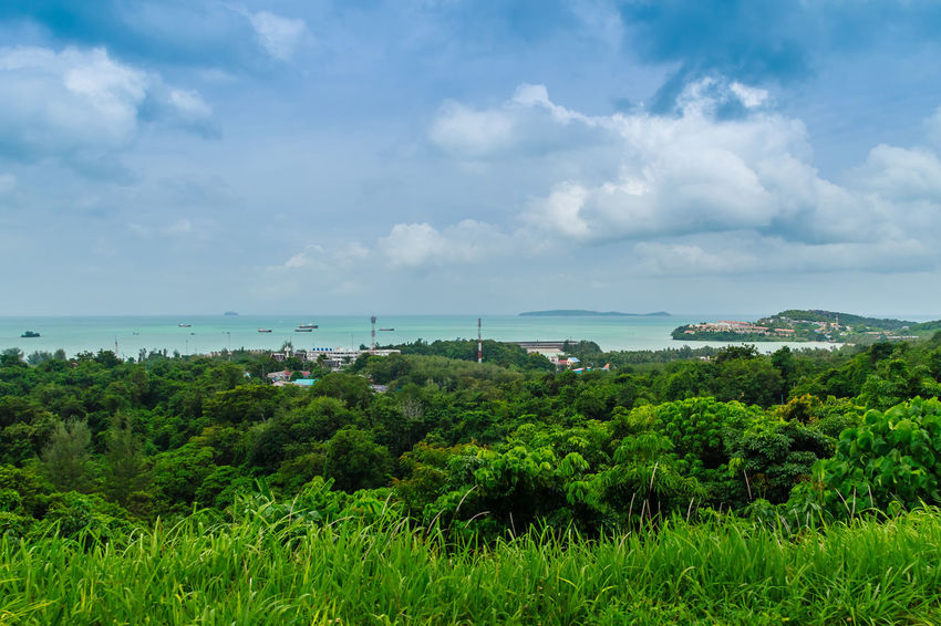 Beautiful view of Ao Makham (Makham bay) and Panwa cape, view from Kao Khad- Ao Yon Rural Road, Tambol Wichit, Amphur Mueang Phuket, Phuket Province, Thailand. Ao Makham Ao Yon , Thailand Kao Khad Makham Bay Panwa Cape Phuket Phuket Island Phuket Landscape Phuket Thailand Phuket, Thailand Phuket,Thailand Beauty In Nature Cloud - Sky Day Grass Green Color Growth Horizon Over Water Khao Khad Landscape Nature No People Outdoors Plant Scenery Scenics Sea Sky Tranquil Scene Tranquility Tree Vegetation Water