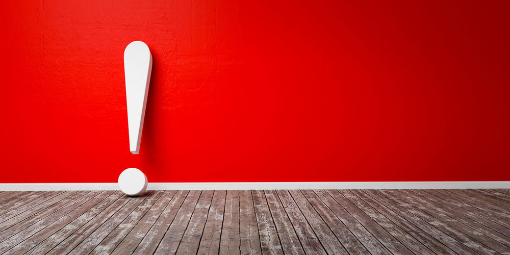 White exclamation mark on wooden floor and concrete wall 3D Illustration Warning Concept Wood - Material Red Indoors  Wall - Building Feature Table No People Flooring Wood Copy Space White Color Hardwood Floor Still Life Close-up Wall Built Structure Two Objects Home Interior Red Background Textured  Architecture Blank Exclamation Point Exclamation Mark Faq Warning Sign