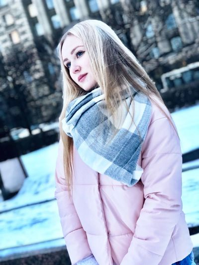 Blond Hair Fashion Jacket One Person Winter Long Hair Portrait