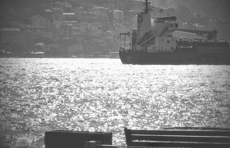 Showcase: November into the ocean. Blackandwhite TheWeekOnEyeEM EyeEm Best Shots - Black + White Light And Shadow Ocean Ship B&w Street Photography My Favorite Photo Arnavutkoy Monochrome Photography Water Sea Ocean View Reflection Ocean City Bosphorus