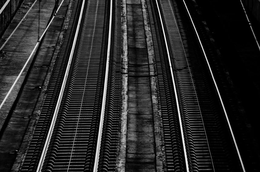 High Speed Tracks Blackandwhite Built Structure Connection Direction High Speed Tracks Metal Mode Of Transportation No People Public Transportation Rail Transportation Railroad Track Sichtmanufaktur The Way Forward Track Transportation