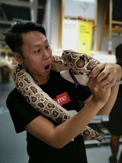 Shocked mature man holding toy snake while standing on floor