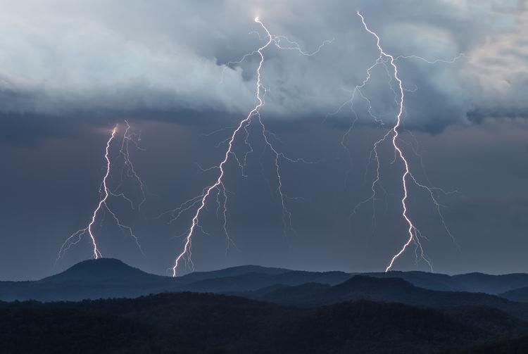Lightning In Sky Over Mountain