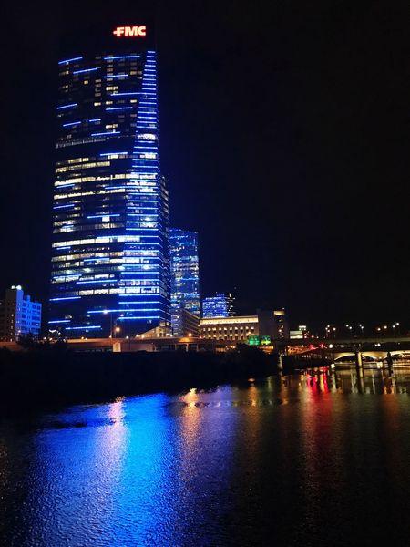 Architecture Illuminated Building Exterior City Philadelphia Philly Schuylkill River River Modern Skyscraper City Life City