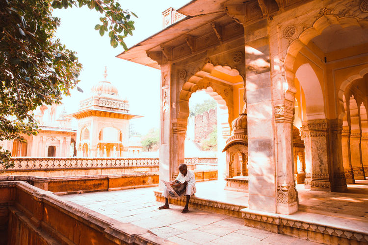 India Indian Temple Indian Culture  Jaipur Jaipur Rajasthan Indian Architecture Man Reading Newspaper Temple