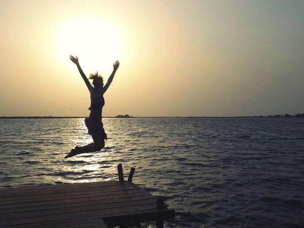 Icare Happy Jumpshot Sea Water Sunset Horizon Over Water Scenics Silhouette Full Length Outdoors Lifestyles