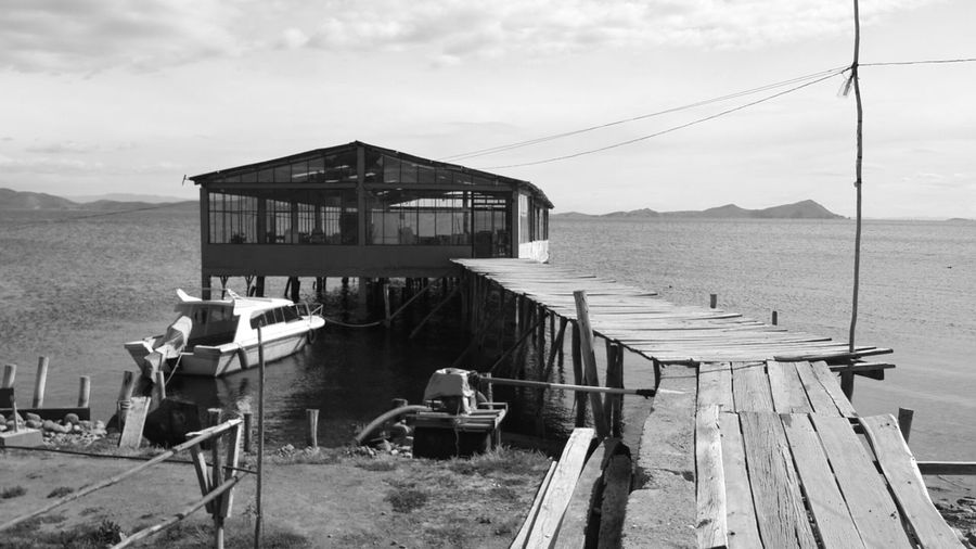 Beauty In Nature Nature Sky Check This Out Hanging Out Outdoors Tranquility Enjoying Life Bridge View Black And White Old Fashion Sea Water Bolivia Titicaca