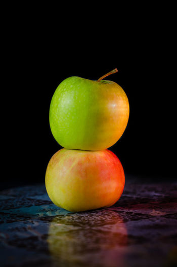Colours of apples Apple - Fruit Black Background Close-up Day Food Food And Drink Freshness Fruit Healthy Eating Indoors  No People