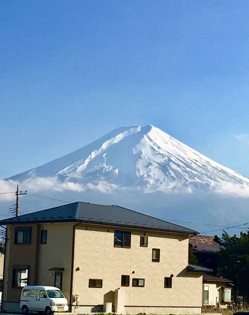 Fuji Mountain Japan Architecture House Building Exterior Built Structure Mountain Blue Snow Beauty In Nature Snowcapped Mountain Winter Outdoors Day No People Sky Roof Mountain Range Nature Cloud - Sky Residential Building