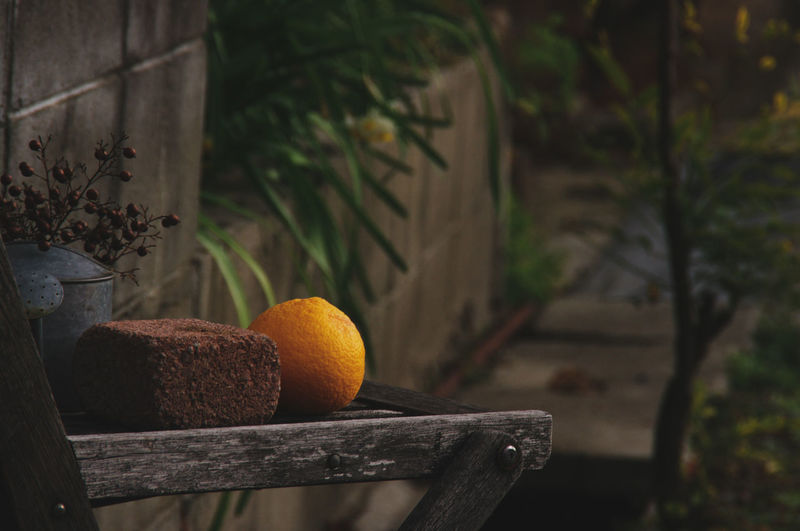 Close-up of orange fruits on the wooden chair
