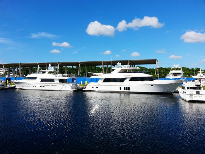 Yachts Nautical Vessel Day Water No People Sky Outdoors Check This Out Luxurylifestyle  Taking Photos Luxurylifestyle  Fort Lauderdale  Million Dollar View Richpeople Reflection Intercoastal Waterways Boats On Water Twins