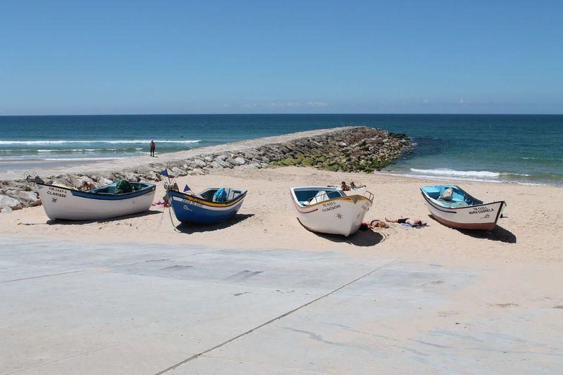 Beach Beachhead Fishingboats Four Lisbon Portugal Sea Seaside