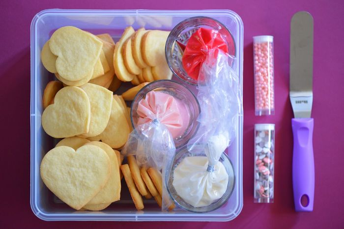 Candy Sweets Butter Cookies Almond Vanilla Cut Out Cookie EyeEm ready Make It Yourself Sugar Cookies Valentine's Day  Heart Baking Royal Icing Icing Cookies Food Plastic Food And Drink Container Indoors  PLASTIC CONTAINER No People Freshness Ready-to-eat