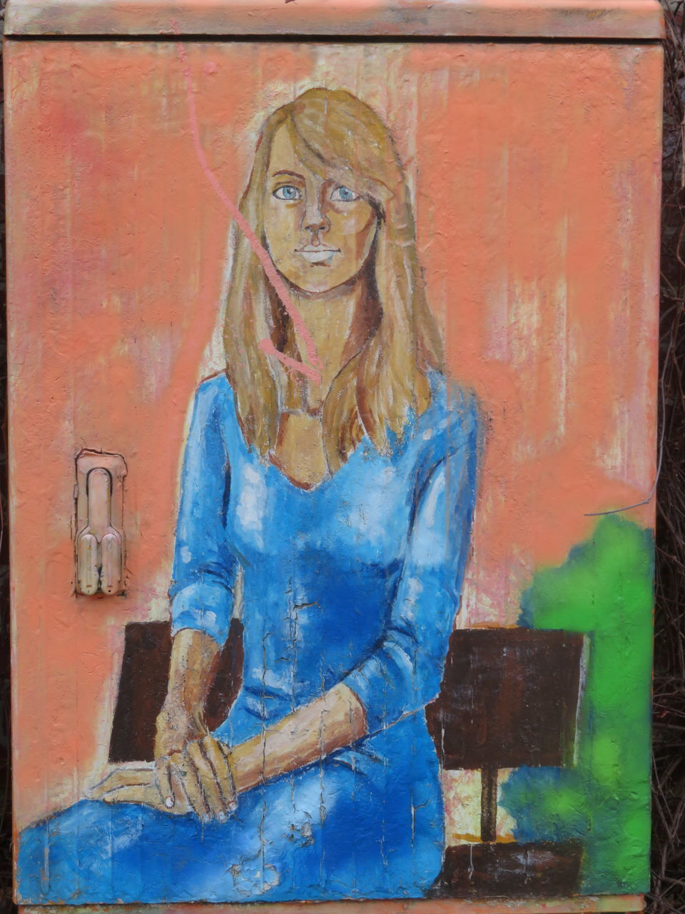 art and craft, creativity, human representation, one person, representation, paint, real people, front view, blue, long hair, standing, women, female likeness, portrait, adult, day, indoors, three quarter length, looking at camera, hairstyle, mural