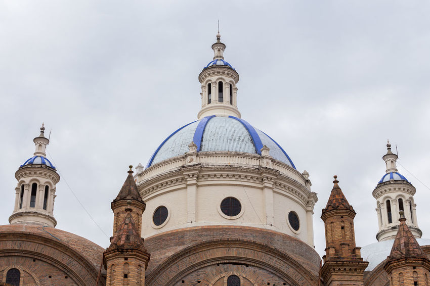 Azuay Catedral Cathedral Architecture Bell Tower Blue Building Exterior Built Structure Church Dome Cloud - Sky Cross Day Dome History Low Angle View No People Outdoors Place Of Worship Religion Sky Spirituality Travel Destinations