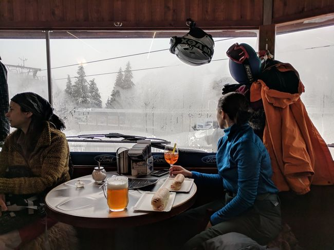 It's Apres Ski time, paired my pannini with an APA Beer from Pivovar Trautenberk while Martyna went for a classic Aperol Spritz // Winter Real People Cold Temperature Table Day Snow Togetherness Friendship Sitting Indoors  Young Women Nature Warm Clothing Young Adult F/2.0 ISO 50 1/200 Sec Google Pixel via Fotofall