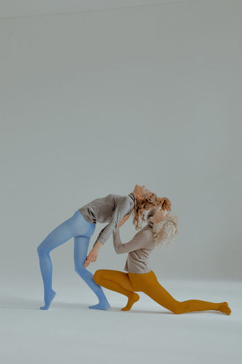 Ironic Discoteque Dancing Balance Flexibility Women Elégance Arts Culture And Entertainment Dancing Contemporary Dance Gaga Dance Gaga Dancing Around The World Blue And Orange Colors Colourful Tights The Week on EyeEm TheWeekOnEyeEM