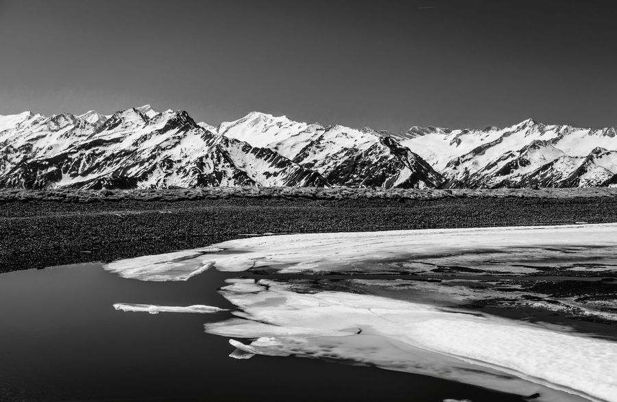 Mountainpeak EyeEm Selects Austria Austrian Alps Mountain Range Mountain View Mountain Water Snow Blue Sky Nature Alps Berge Schnee Berglandschaft Österreich Schwarzweiß Black And White The Week On EyeEm