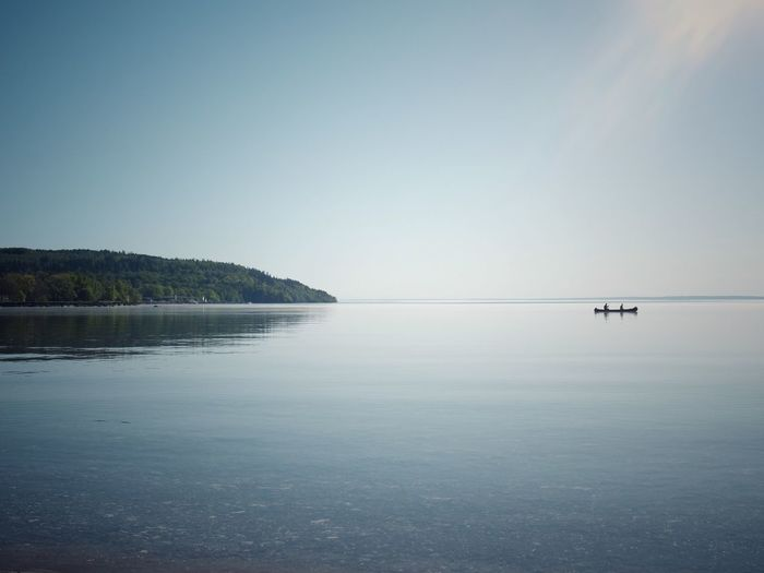 Lake Vättern Lifestyles Summer Omberg Calm EyeEm Best Shots Sweden Kayak Canoe Water Sky Sea Scenics - Nature Beauty In Nature Tranquil Scene Tranquility Nature Clear Sky Reflection Transportation Outdoors Idyllic Horizon Over Water Blue
