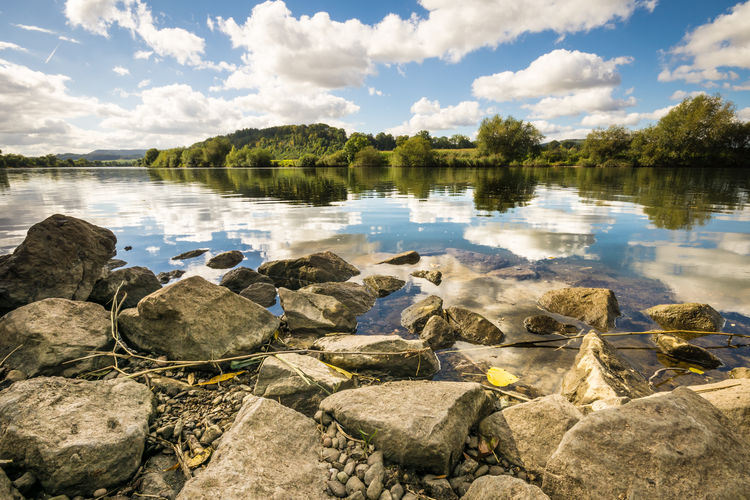 Weser river near Hameln Hameln Von Oben Riverside Weserbergland Beauty In Nature Cloud - Sky Day Lake Mountain Nature No People Outdoors Plant Reflection Rock Rock - Object Scenics - Nature Sky Solid Stone Tranquil Scene Tranquility Tree Water Weser Wideangle Lens