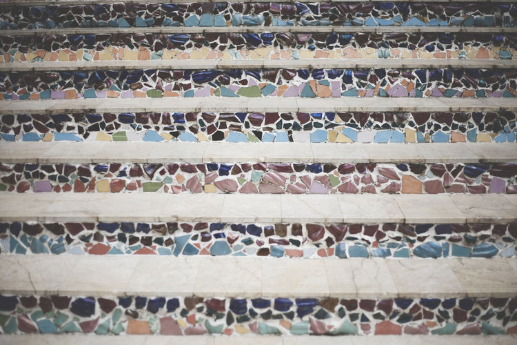 Full frame shot of mosaic steps at temple