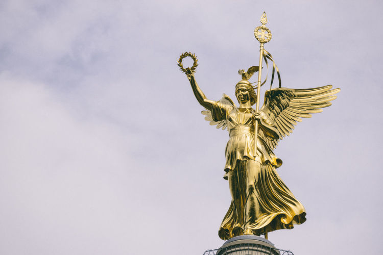Victory Column Berlin Germany 🇩🇪 Deutschland Horizontal Victoria Close-up Crown Day Gold Gold Colored Laurel Wreath Low Angle View No People Outdoors Sculpture Sky Statue Victory Column