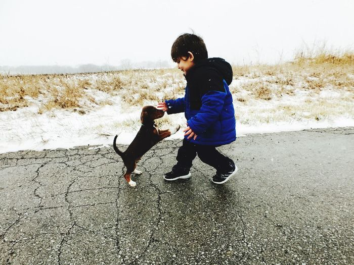Max and Adrian Pets Dog Domestic Animals Animal Themes Full Length One Animal One Person Mammal Day Childhood Outdoors Playing Real People Nature People