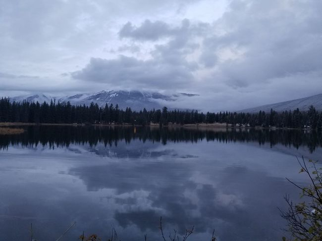 Jasper National Park Lake Reflection Tranquility Beauty In Nature Lost In The Landscape Mountain Landscape No People Dusk Twilight Sky