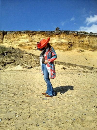 full length sand Sunlight Clear sky blue day outdoors casual clothing fashion western cliff sandstone beach summer Women Female Beach Pose Orange Color Orange Full Length Sand Sunlight Clear Sky Blue Day Outdoors Casual Clothing Fashion Western Cliff Sandstone Beach