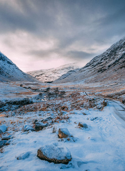 Winter Mountain Snow Landscape Snowcapped Mountain Skyfall Glencoe Glen Etive Scotland Highlands Highlands Of Scotland VisitScotland James Bond Barren Empty Empty Road Ice Icey Blue Cold Munro Tranquility No People