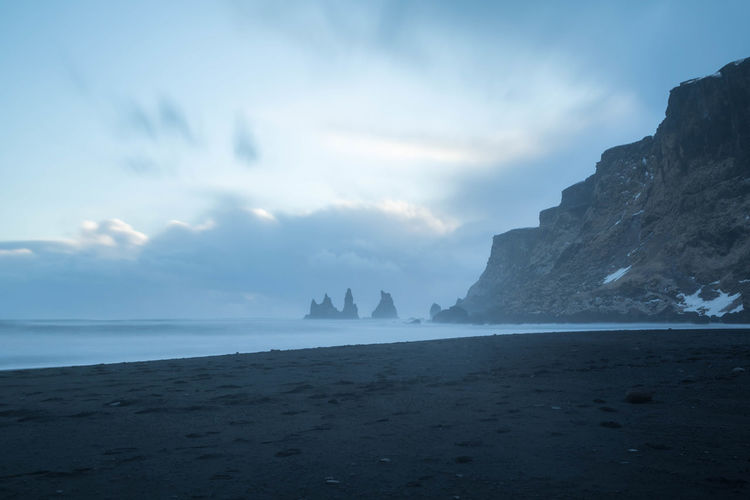 Beauty In Nature Black Sand Beach Iceland Clouds And Sky Day Horizon Over Water Nature No People Outdoors Scenics Sea Sea Stacks Sky Tranquility Water