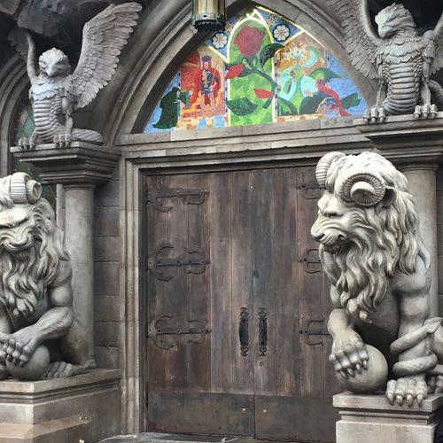 Built Structure Building Exterior Statue Architecture Magic Kingdom Belles Castle Entranceway