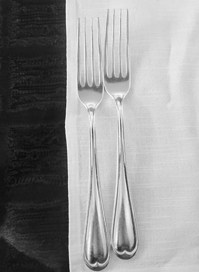 Blackandwhite Silver  Fork Spoon Place Setting Eating Utensil No People Directly Above Kitchen Utensil Cutlery Stainless Steel  Close-up Indoors  Plate Table