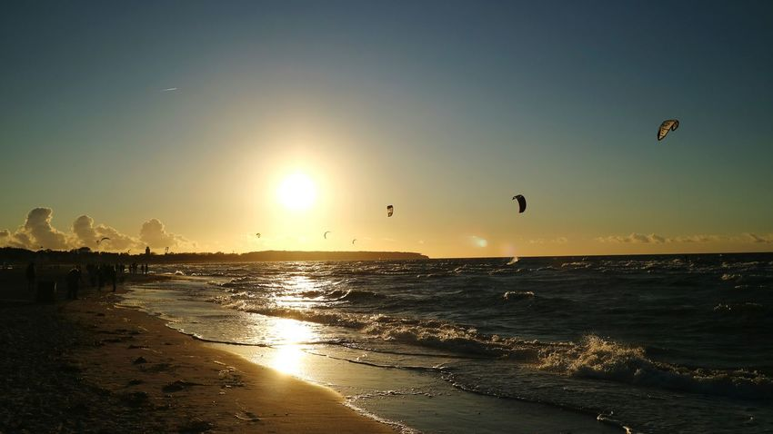 Sunset Sea Sky Beach Silhouette Kite Kites On The Beach