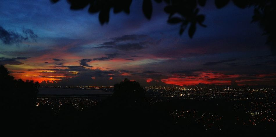 City lights on horizon. Learn & Shoot: After Dark Hello World EyeEm Best Shots Eye4photography  Skies And Clouds Skies At Dusk Cityscapes City Lights Cityscape Blue And Red Colour Philippines LG G4 Into The Darkness Beauty In Nature Beauty In The Darkness Manual My Favorite Place