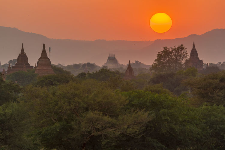 Scenic view of temple against sky during sunset