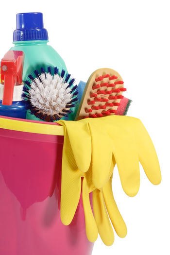Bottle Cleaning Cleaning Brush Cleaning Equipment Close-up Day Hygiene Multi Colored No People Plastic Red Supplements White Background Yellow