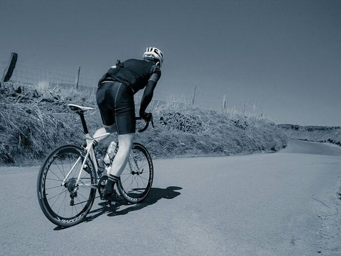Cycling Bicycle Outdoors Healthy Lifestyle Sportsman Roadbike Sport Exercising Blackandwhite Hills Headwear One Man Only One Person Only Men Men Adult People Full Length Sports Helmet Adults Only Day Sky First Eyeem Photo