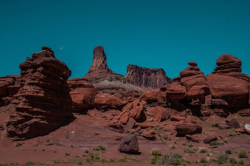 Heaps Moab  USA Sky Rock Blue Rock - Object Rock Formation Solid Nature Clear Sky Scenics - Nature Geology Travel Destinations Beauty In Nature Travel Remote Tranquil Scene Physical Geography