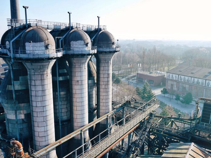 High angle view of towers at landschaftspark against sky