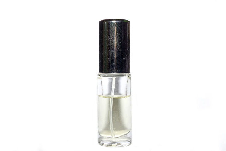 Small bottle parfume On White Background Single Object No People Body Care Adult People