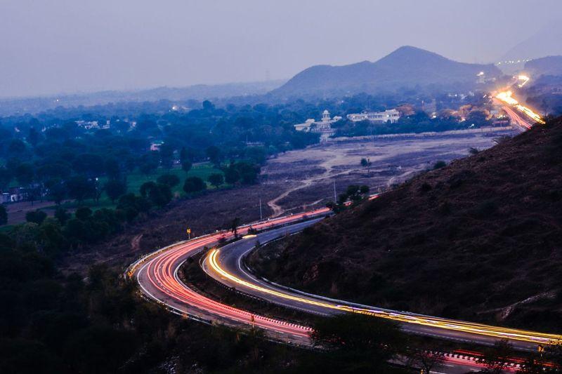 Blinding lights Lighttrails Highway HillTopView