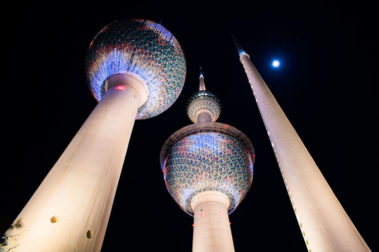 Kuwait Kuwait Towers Architecture Building Exterior Built Structure City Dome Illuminated Low Angle View Night No People Outdoors Place Of Worship Sky Tower Towers Travel Destinations