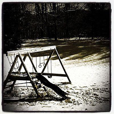 Winter playtime! Miltonvt Play B Backyard Winter Snow Cold Playtime Swing Sepia Slide Vermont Brrrr Vt Milton_vt