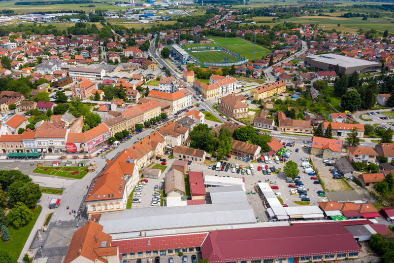High angle view of townscape and street in city