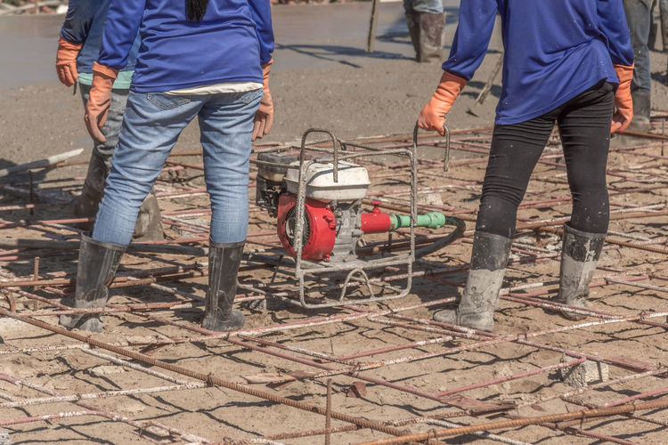 Ready Workers Background Concrete Construction Industry Construction Site Construction Worker Material Mixing Outdoors Plasterers Pour Reinforcement Standing Texture