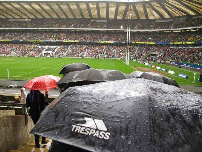 Umbrellas Red Umbrella Black Umbrella Wet Waching Rugby Twickenham Rugby